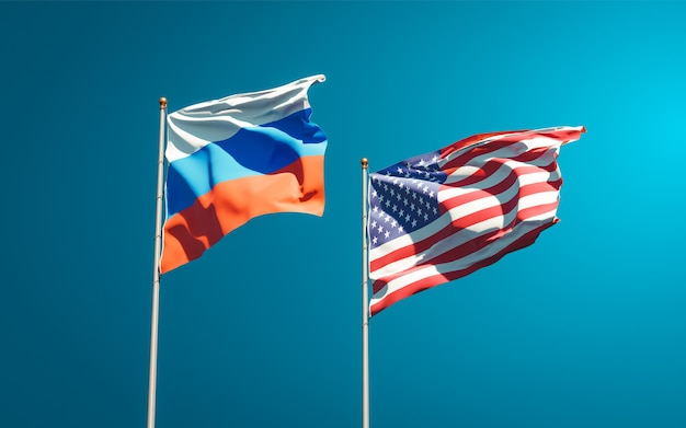 Belas bandeiras estaduais da rússia e dos eua juntos