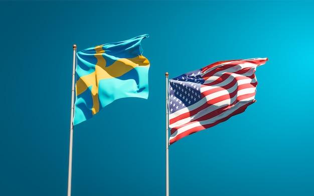 Belas bandeiras estaduais da suécia e dos eua juntas