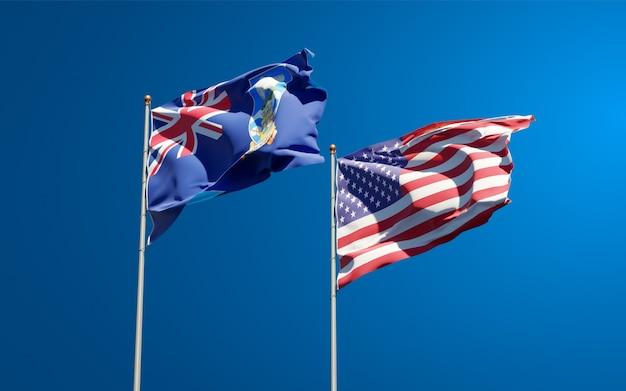 Belas bandeiras estaduais das ilhas malvinas e dos eua juntas
