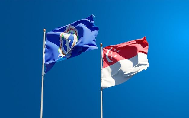 Belas bandeiras estaduais das ilhas marianas do norte e cingapura juntas