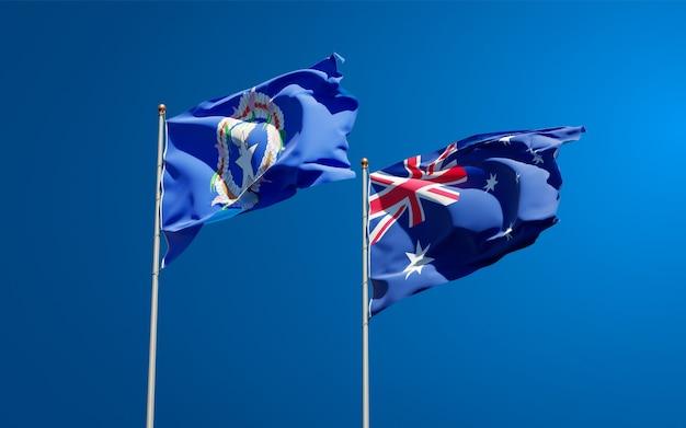 Belas bandeiras estaduais das ilhas marianas do norte e da austrália juntas
