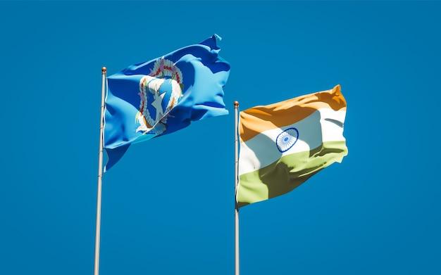 Belas bandeiras estaduais das ilhas marianas do norte e da índia juntas
