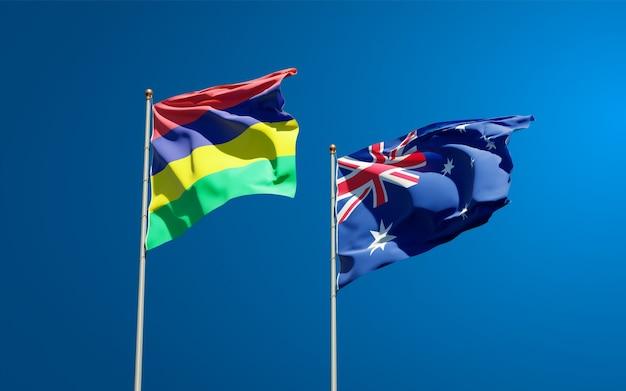 Belas bandeiras estaduais das ilhas maurício e da austrália juntas