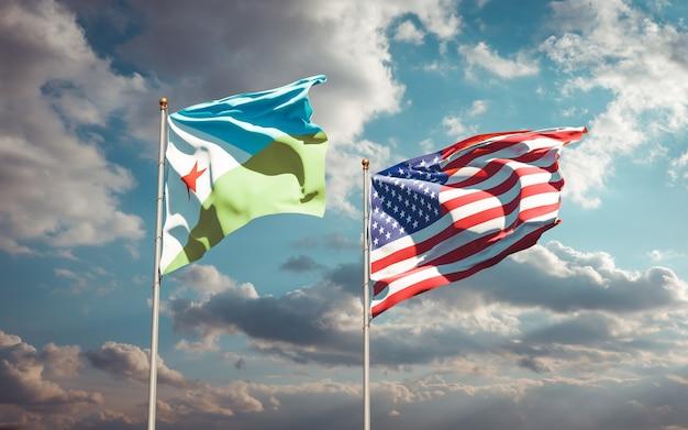 Belas bandeiras estaduais de djibouti e eua juntas
