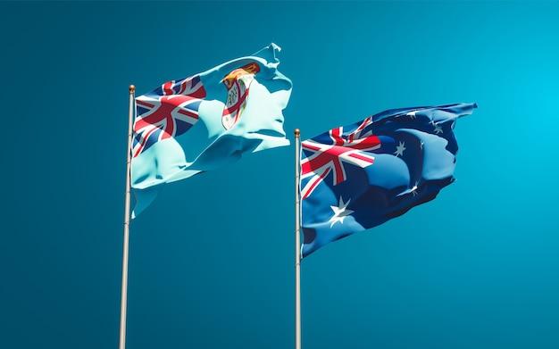 Belas bandeiras estaduais de fiji e austrália juntas