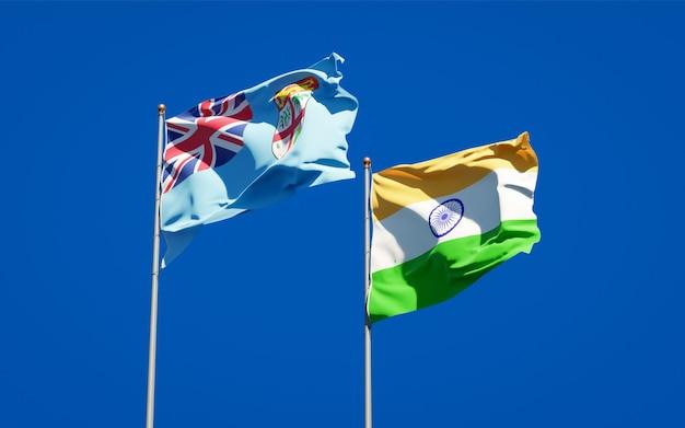 Belas bandeiras estaduais de fiji e índia juntas