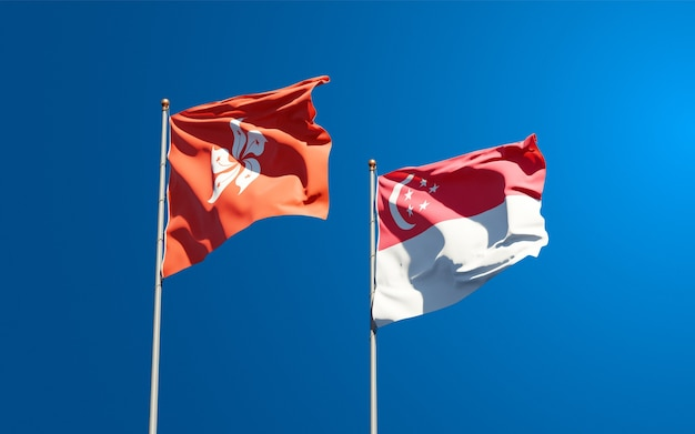 Belas bandeiras estaduais de hong kong hk e cingapura juntas