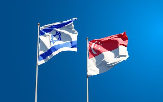 Belas bandeiras estaduais de israel e cingapura juntas
