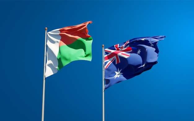 Belas bandeiras estaduais de madagascar e da austrália juntas