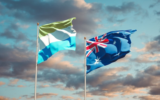Belas bandeiras estaduais de serra leoa e austrália juntas