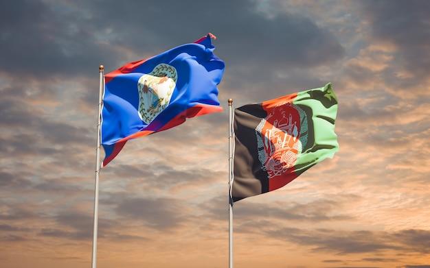 Belas bandeiras estaduais do afeganistão e belize