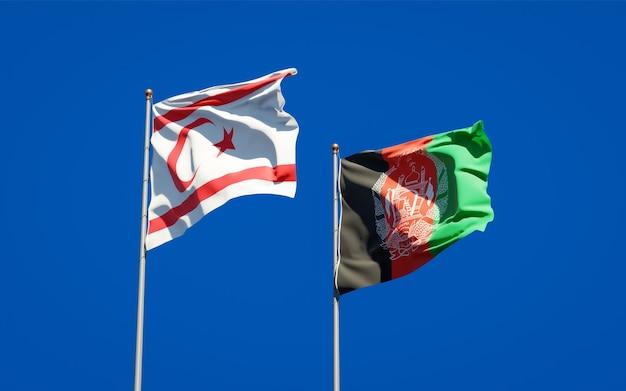 Belas bandeiras estaduais do afeganistão e da república turca do norte de chipre