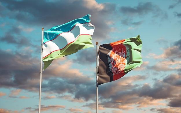 Belas bandeiras estaduais do afeganistão e do uzbequistão