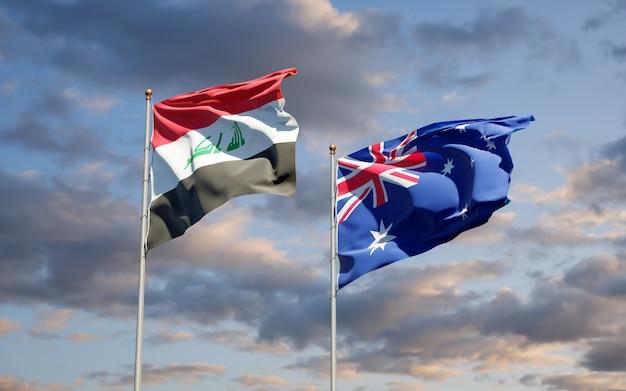 Belas bandeiras estaduais do iraque e da austrália juntas