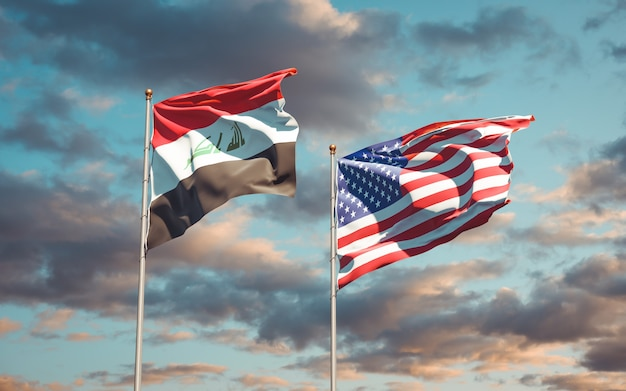 Belas bandeiras estaduais do iraque e dos eua juntos