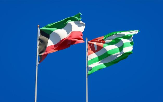 Belas bandeiras estaduais do kuwait e da abkházia juntas