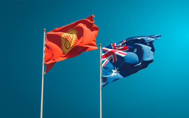 Belas bandeiras estaduais do quirguistão e da austrália juntas