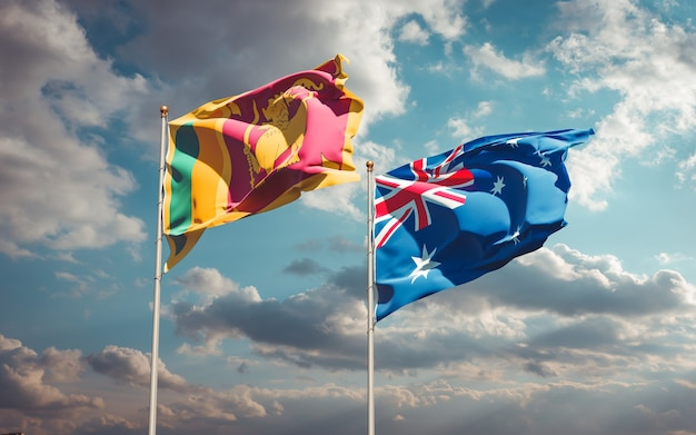 Belas bandeiras estaduais do sri lanka e da austrália juntas