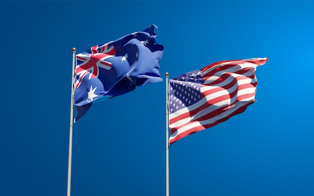 Belas bandeiras estaduais dos eua e da austrália juntas