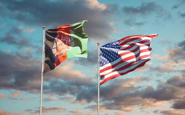 Belas bandeiras estaduais dos eua e do afeganistão juntos