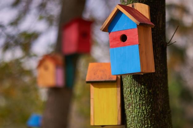 Belas birdhouses multi-coloridas no parque.