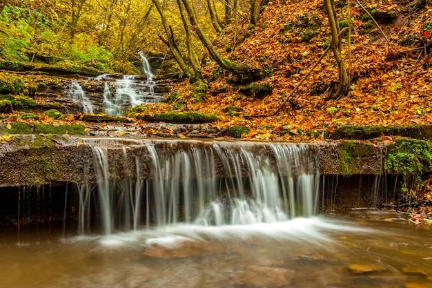 Belas cachoeiras da região de ternopil no outono na floresta