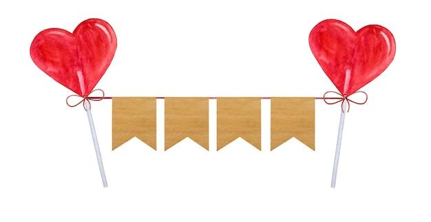 Belas decorações do feriado em forma de bandeiras coloridas.