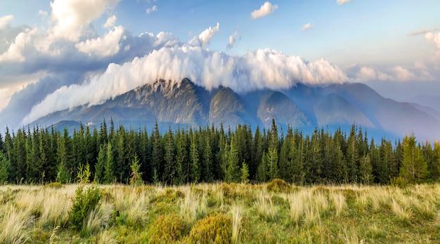 Belas dramáticas nuvens brancas sobre montanhas. forest hills nas montanhas dos cárpatos. ucrânia.