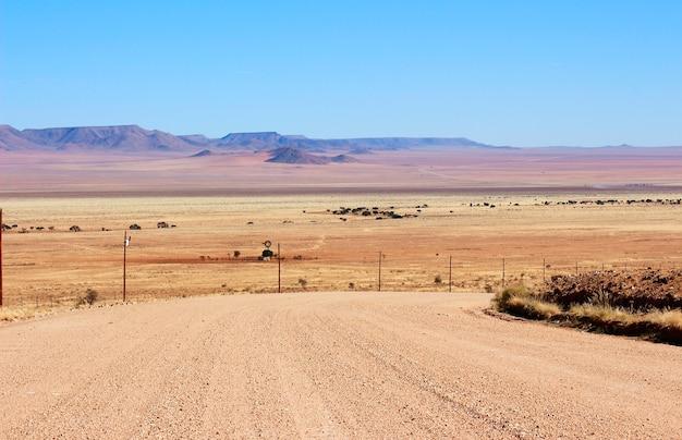 Belas e coloridas montanhas e estrada de cascalho da namíbia