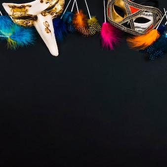 Belas máscaras e penas brilhantes