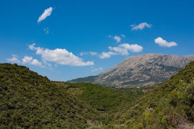 Belas montanhas de verão com grama verde e paisagem de céu azul