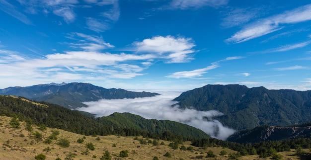 Belas nuvens e céu na montanha