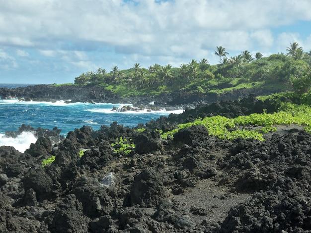 Belas paisagens de formações rochosas afiadas na praia sob o céu nublado no havaí