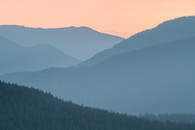 Belas paisagens do pôr do sol no parque nacional mount rainier, nos eua
