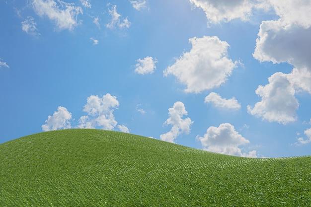 Belas paisagens, prados verdes com céu azul e boas festas.