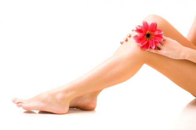 Belas pernas bem cuidadas de uma jovem mulher