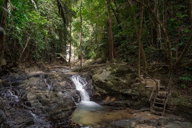 Belas vistas da floresta tropical com uma cachoeira no parque nacional da tailândia