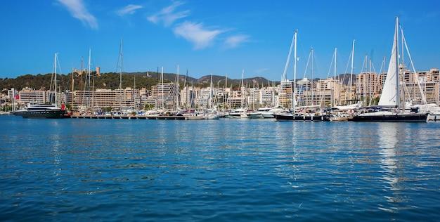 Belas vistas do mar com barcos, iates e palma de maiorca no horizonte