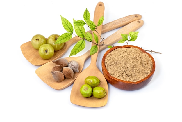 Beleric myrobalan, chebulic myrobalans, terminalia arjunaand indian gooseberry frutas isoladas em branco.