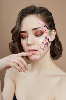 Beleza cara profissional maquiagem, flor de cosméticos