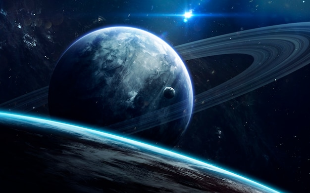 Beleza do espaço profundo, planetas, estrelas e galáxias no universo infinito.