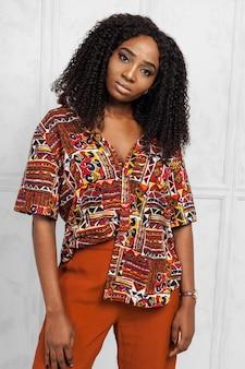 Beleza, jovem, afro americano, mulher
