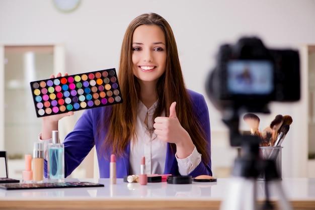 Beleza moda blogger gravação de vídeo