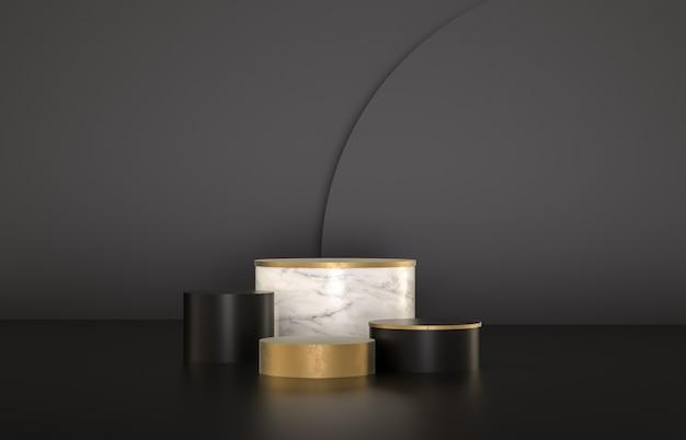 Beleza moda cenário de pódio de luxo para a exposição do produto. minimalista fundo preto, mármore e dourado. 3d rendem.