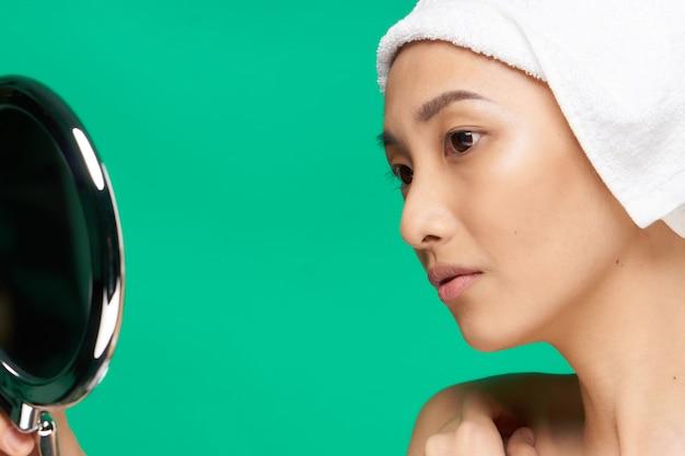 Beleza mulher asiática cuidados com a pele, beleza