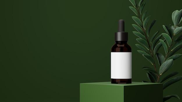 Beleza orgânica com frasco de vidro marrom, embalagem de ervas, pele, folha natural verde no fundo