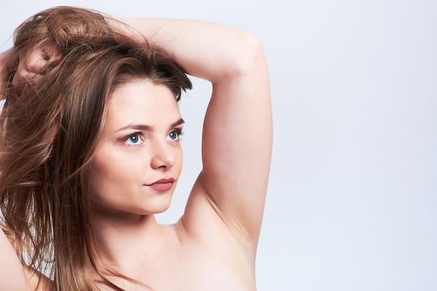 Beleza, retrato, de, mulher jovem