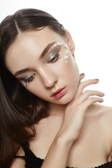 Beleza rosto maquiagem, cosméticos pétalas de flores