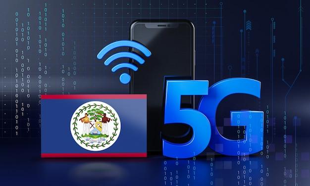 Belize pronto para o conceito de conexão 5g. fundo de tecnologia de smartphone de renderização 3d