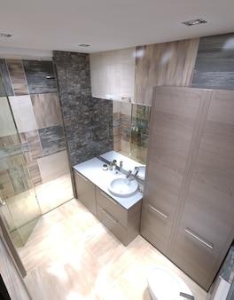 Belo banheiro grande em casa de luxo.